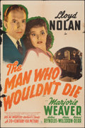 """Movie Posters:Mystery, The Man Who Wouldn't Die (20th Century Fox, 1942). Folded, Fine. One Sheet (27"""" X 41""""). Mystery.. ..."""