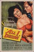 "Movie Posters:Drama, All I Desire (Universal International, 1953). Folded, Fine/Very Fine. One Sheet (27"" X 41""). Drama. From the Collection of..."