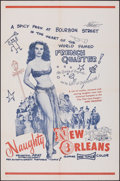 """Movie Posters:Sexploitation, Naughty New Orleans (Rebel Pictures, 1954). Folded, Very Fine-. One Sheet (27"""" X 41""""). Sexploitation.. ..."""
