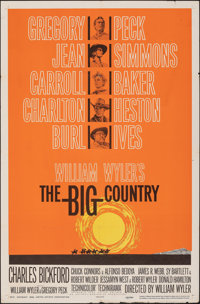 """The Big Country (United Artists, 1958). Folded, Fine/Very Fine. One Sheet (27"""" X 41"""") Style B. Western"""