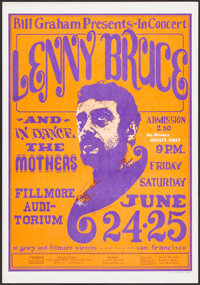"""Lenny Bruce at the Fillmore Auditorium (Bill Graham Productions, 1966). Very Fine-. Concert Window Card (14"""" X 20&q..."""