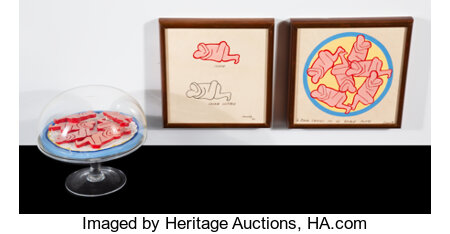 Judy Chicago (b. 1939) Six Erotic Cookies (in 10 parts), 1967 Plastic bowl, painted ceramics, and ink on paper Signed... (Total: 10 Items)