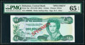 World Currency, Bahamas Central Bank 1 Dollar 1974 (ND 1984) Pick 43s Specimen PMG Gem Uncirculated 65 EPQ.. ...
