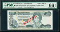 World Currency, Bahamas Central Bank 1/2 Dollar 1974 (ND 1984) Pick 42s Specimen PMG Gem Uncirculated 66 EPQ.. ...