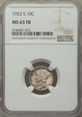 1923-S 10C MS63 Full Bands NGC. NGC Census: (17/47). PCGS Population: (57/147). Mintage 6,440,000. ...(PCGS# 4941)