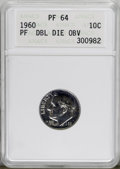 Proof Roosevelt Dimes, 1960 10C Doubled Die Obverse PR64 ANACS. PCGS Population (9/43).(#5223)...