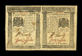 Colonial Notes:Pennsylvania, Pennsylvania April 25, 1776 Uncut Horizontal Pair 1s, 2s6pExtremely Fine....