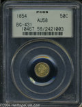 California Fractional Gold: , 1854 Liberty Round 50 Cents, BG-431, Low R.5, AU58 PCGS. ...