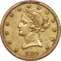 1839 $10 Small Letters, Head of 1840, AU50 PCGS....(PCGS# 8580)