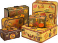 Decorative Accessories, A Group of Six Suitcases with Applied Travel Stickers, circa 1945, with later stickers. Marks: (various). 25-3/4 x 21-1/4 x ... (Total: 6 Items)