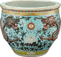 A Chinese Partial Gilt Porcelain Fish Bowl 21-1/2 x 22 inches (54.6 x 55.9 cm)  PROPERTY FROM THE ESTATE OF