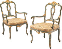 A Pair of Venetian Gilt and Green Painted Armchairs, 20th century 41 x 20-1/2 x 20-1/2 inches (104.1 x 52.1 x 52.1