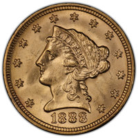 1888 $2 1/2 MS66 PCGS. Shimmering yellow-gold luster adorns both sides of this exceptionally well preserved 1888 quarter...