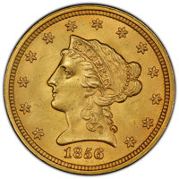 1856 $2 1/2 MS65 PCGS. The availability of this Philadelphia issue declines quickly in grades above MS62, and at the Gem...