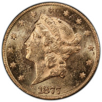 1877 $20 MS61 Prooflike PCGS. PCGS has certified only seven Prooflike 1877 double eagles, compared to 34 coins at NGC. N...