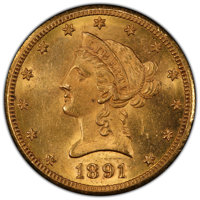 1891-CC/CC $10 FS-501 MS63 PCGS. Variety 4-C. The mintmark is repunched on this variety, mainly visible on the second C...
