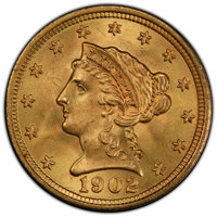 1902 $2 1/2 MS65+ PCGS. PCGS Population: (425/225). NGC Census: (320/227). CDN: $690 Whsle. Bid for NGC/PCGS MS65. Minta...