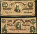 Confederate Notes:1864 Issues, T65 $100 1864 Very Fine-Extremely Fine;. T66 $50 1864 Very Fine-Extremely Fine.. ... (Total: 2 notes)