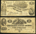 Confederate Notes:1862 Issues, T42 $2 1862 PF-2 Cr. 335 Very Good-Fine;. T44 $1 1862 PF-2 Cr. 340 Very Good-Fine.. ... (Total: 2 notes)