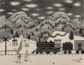 Prints & Multiples, Doris Lee (American, 1905-1983). Afternoon Train, c. 1948. Lithograph on paper. 12 x 16 inches (30.5...