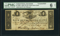 Savannah, GA- Bank of the United States (Second) $5 Nov. 15, 1830 Haxby Unlisted Counterfeit PMG Good 6 Net.</