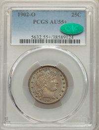 1902-O 25C AU55+ PCGS. CAC. PCGS Population: (29/90 and 2/9+). NGC Census: (9/63 and 0/0+). CDN: $275 Whsle. Bid for NGC...