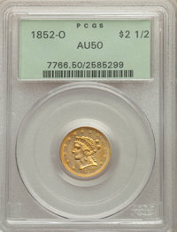 1852-O $2 1/2 AU50 PCGS. PCGS Population: (46/133). NGC Census: (52/371). CDN: $575 Whsle. Bid for NGC/PCGS AU50. Mintag...