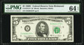 Fr. 1972-E* $5 1969C Federal Reserve Note. PMG Choice Uncirculated 64 EPQ