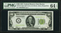 Fr. 2152-A $100 1934 Light Green Seal Federal Reserve Note. PMG Choice Uncirculated 64 EPQ