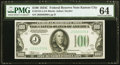 Fr. 2155-J $100 1934C Federal Reserve Note. PMG Choice Uncirculated 64