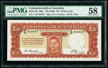 World Currency, Australia Commonwealth Bank of Australia 10 Pounds ND (1949) Pick 28c R60 PMG Choice About Unc 58.. ...