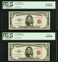 Fr. 1532 $5 1953 Legal Tender Notes. Two Consecutive Examples. PCGS Graded Superb Gem New 67PPQ; Gem New 65PPQ