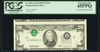 Inverted Third Printing Error Fr. 2082-I $20 1995 Federal Reserve Note. PCGS Extremely Fine 45PPQ