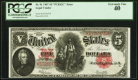 "Fr. 91 $5 1907 ""PCBLIC"" Error Legal Tender PCGS Extremely Fine 40"