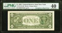 Third Printing on Back Error Fr. 1913-B $1 1985 Federal Reserve Note. PMG Extremely Fine 40