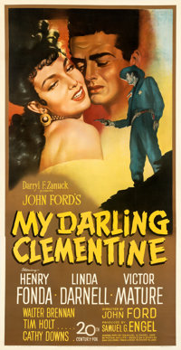 "My Darling Clementine (20th Century Fox, 1946). Fine+ on Linen. Three Sheet (40.5"" X 78.5""). Sergio Gargiulo A..."