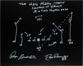 "Football Collectibles:Others, Roger Staubach & Drew Pearson Signed ""Hail Mary"" Diagram...."