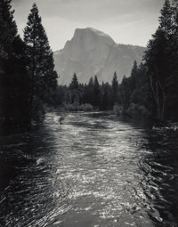 Ansel Adams (American, 1902-1984) Half Dome, Sunglint on Merced River, Yosemite National Park, California</