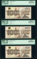 World Currency, Canada Bank of Canada $100 1988 Pick 99d BC-60d Five Consecutive Examples PCGS Gem New 66PPQ (5).. ... (Total: 5 notes)