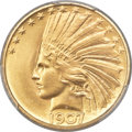Indian Eagles, 1907 $10 Rolled Rim MS65 PCGS....
