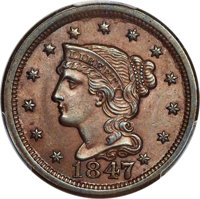 1847 1C Large Over Small 47, N-2, R.3, MS64+ Brown PCGS. CAC....(PCGS# 37367)