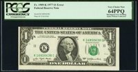 Shifted Face Printing Error Fr. 1909-K $1 1977 Federal Reserve Note. PCGS Very Choice New 64PPQ