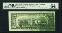 Green Ink Smear on Back Error Fr. 2077-G $20 1990 Federal Reserve Note. PMG Choice Uncirculated 64 EPQ