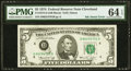 Error Notes:Ink Smears, Ink Smear of District Seal Error Fr. 1973-D $5 1974 Federal Reserve Note. PMG Choice Uncirculated 64 EPQ.. ...