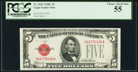 Fr. 1528 $5 1928C Mule Legal Tender Note. G-A Block. PCGS Choice About New 55