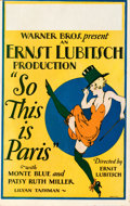 Movie Posters:Comedy, So This is Paris (Warner Bros., 1926). Fine+ on Cardstock....