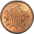 1864 2C Large Motto MS66+ Red PCGS. CAC....(PCGS# 3578)