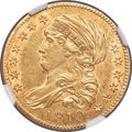 Early Half Eagles, 1810 $5 Large Date, Large 5, BD-4, R.2, MS61 NGC....