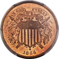 1864 2C Large Motto PR65 Red and Brown PCGS....(PCGS# 3622)