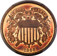 1866 2C PR66 Red and Brown PCGS. CAC....(PCGS# 3631)